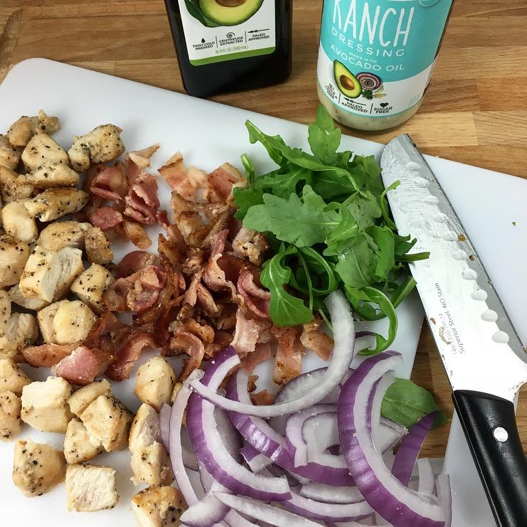 paleo chicken bacon ranch flatbread
