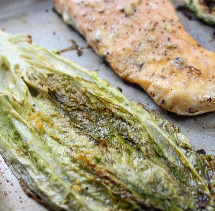 One Pan Caesar Roasted Romaine and Salmon