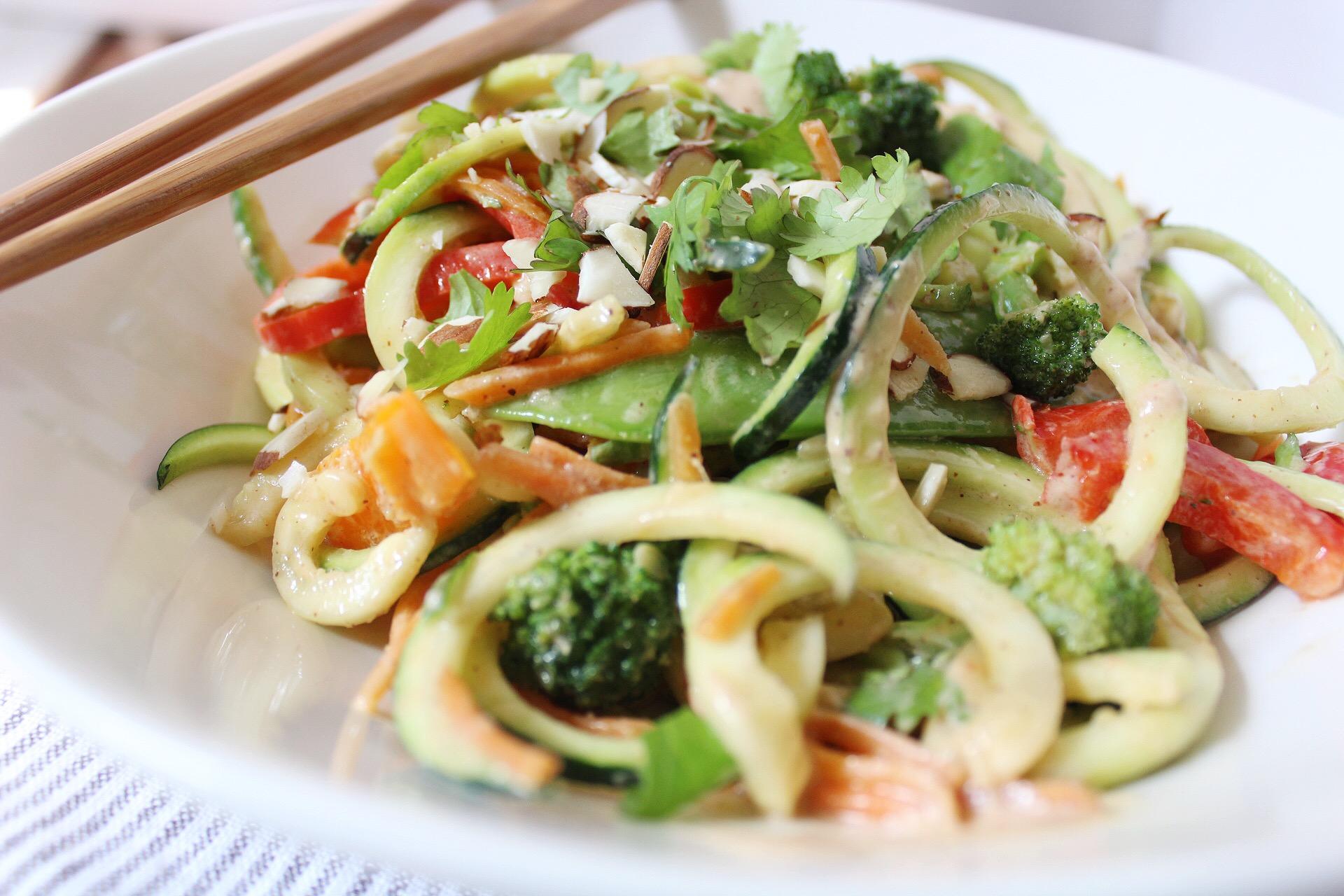 """Paleo Pad Thai Noodle Salad with Almond """"Peanut"""" Sauce"""