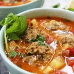 Mexican albondigas meatball soup