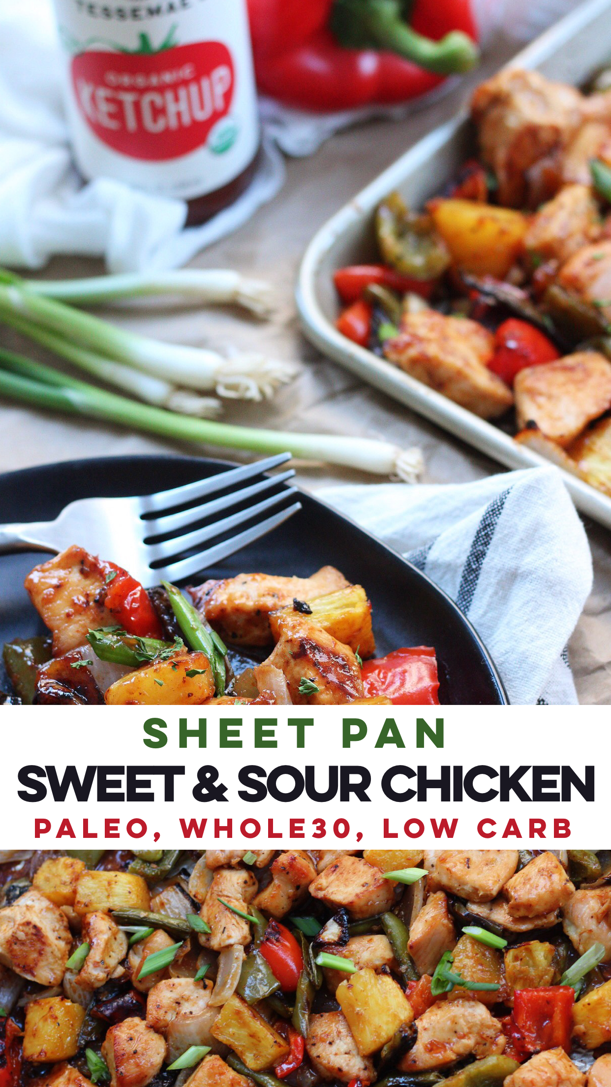 Easy & healthy sheet pan sweet and sour chicken is perfect for a busy week night or Paleo meal prep! #paleo #sweetandsour #whole30 #lowcarb #sheetpan via @paleobailey