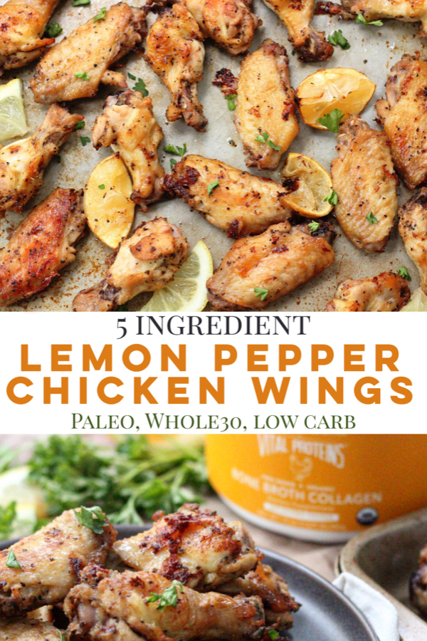Whole30 and Paleo lemon pepper chicken wings are the perfect low carb appetizer, game day recipe, or family friendly crispy chicken wing recipe #paleochickenwings #whole30chickenwings #lowcarbchickenwings